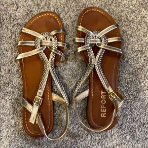 Report metallic sandals